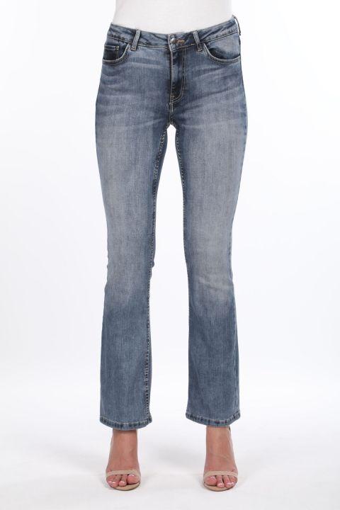 Женские джинсовые брюки с широкими штанинами