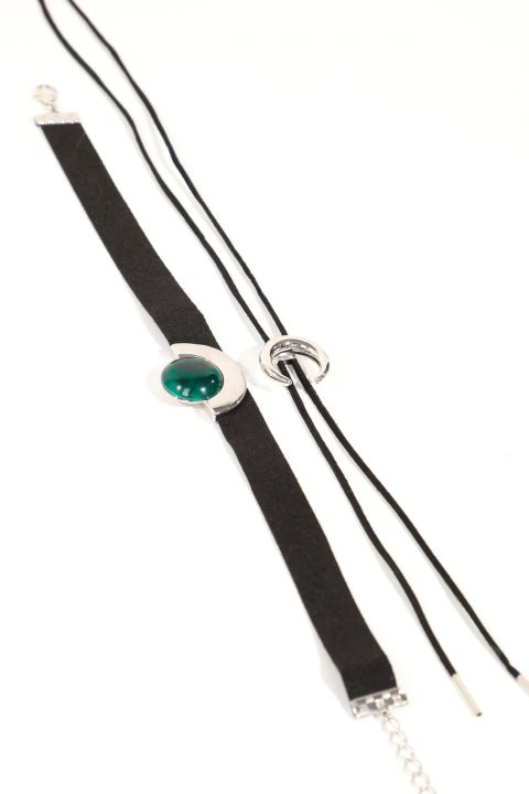 Women's 2-Pack Black Suede Choker Necklace