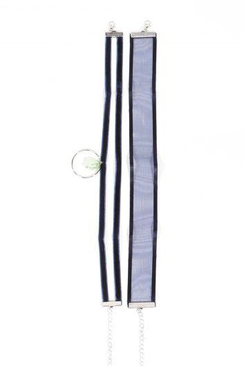 Женское колье-чокер темно-синего цвета, 2 пары - Thumbnail