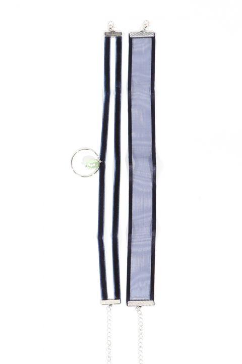 Женское колье-чокер темно-синего цвета, 2 пары