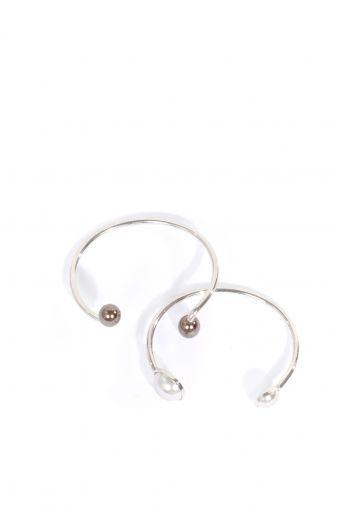 Женский браслет из двух серебряных браслетов в упаковке - Thumbnail