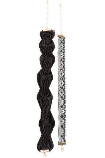 Женское колье-чокер из двух частей из тюля - Thumbnail