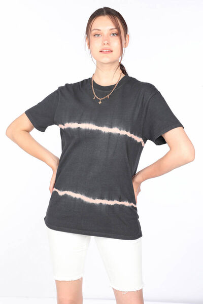 MARKAPIA WOMAN - Women's Anthracite Crew Neck Patterned T-shirt (1)