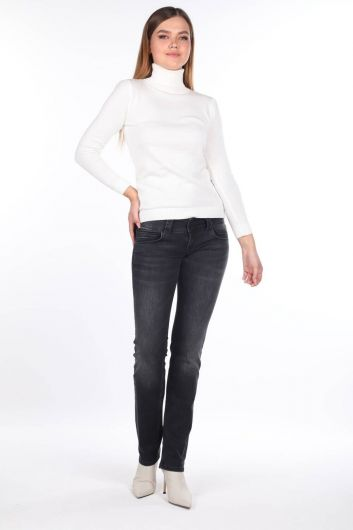 Women's Anthracite Low Rise Jean Trousers - Thumbnail