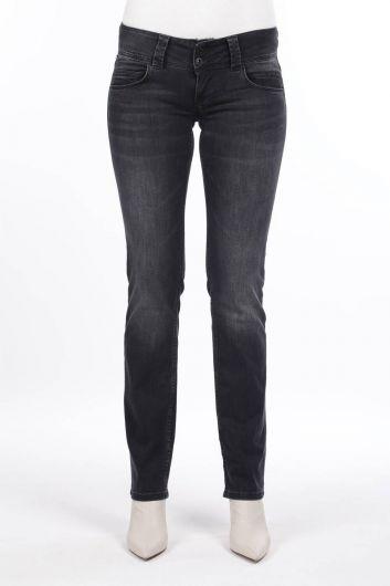 Женские джинсовые брюки антрацитового цвета с низкой посадкой - Thumbnail