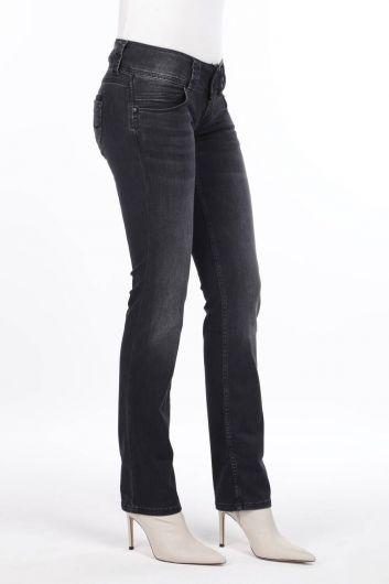 MARKAPIA WOMAN - Женские джинсовые брюки антрацитового цвета с низкой посадкой (1)