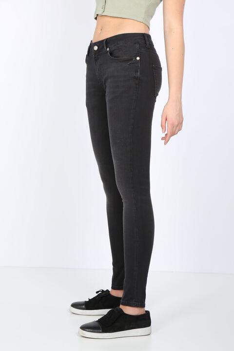 بنطلون جينز نسائي ضيق من أنثراسايت متوسط الخصر