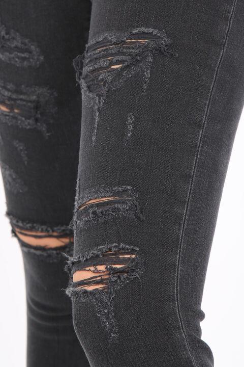 بنطلون جينز نسائي ممزق فحم الإنتراسيت