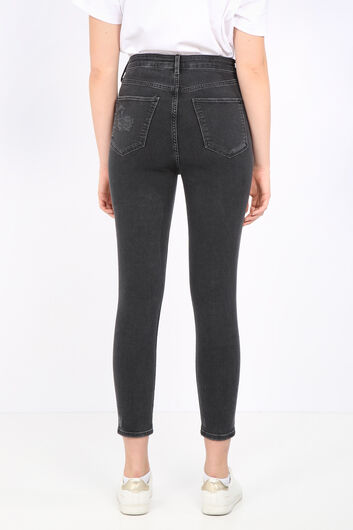 Women's Anthracite Ripped Detailed Jean Trousers - Thumbnail
