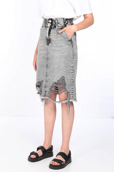 MARKAPIA WOMAN - Женская джинсовая юбка антрацитового цвета с эластичной резинкой на талии (1)