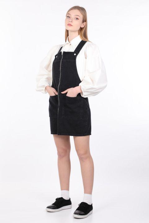 Women's Anthracite Zippered Jumpsuit Skirt