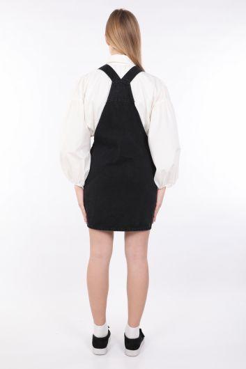 Women's Anthracite Zippered Jumpsuit Skirt - Thumbnail