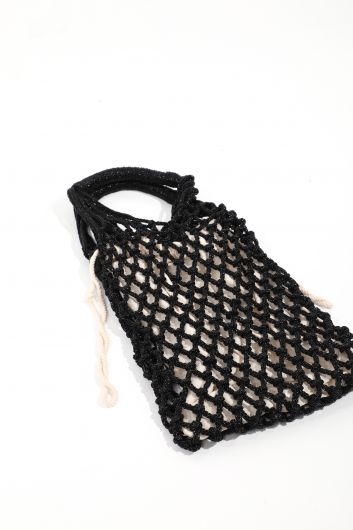 MARKAPIA WOMAN - Women's Black Bag Net Hand Bag (1)