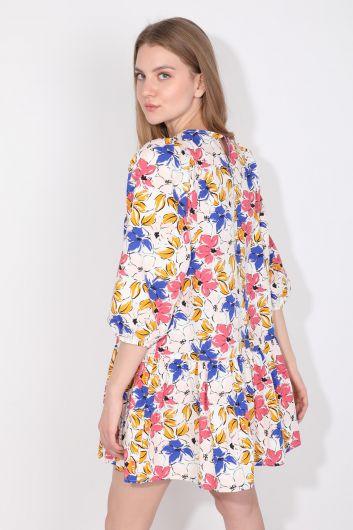 فستان نسائي من البوبلين بأكمام بالون - Thumbnail