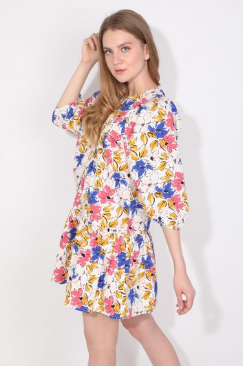 Women's Balloon Sleeve Gathered Poplin Dress - Thumbnail