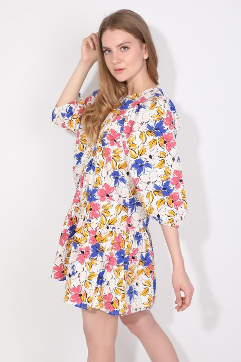 Women's Balloon Sleeve Gathered Poplin Dress