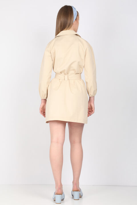 Women's Beige Belt Jacket Collar Dress