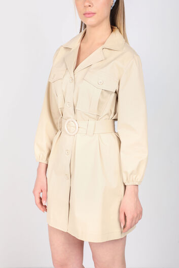 Women's Beige Belt Jacket Collar Dress - Thumbnail