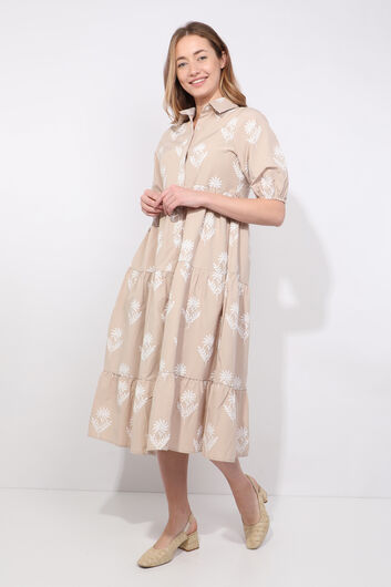 Women Beige Half Sleeve Print Pattern Dress - Thumbnail