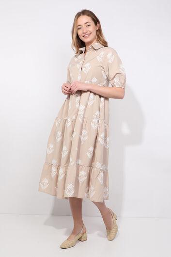Женское бежевое платье с принтом половинного рукава - Thumbnail