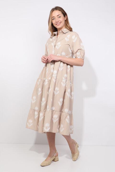Женское бежевое платье с принтом половинного рукава