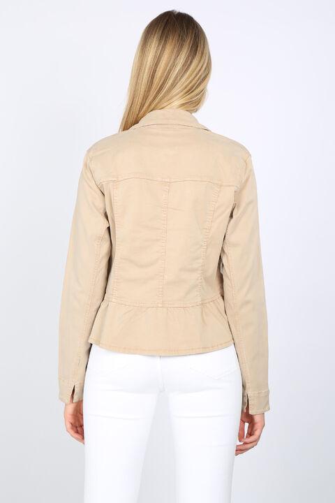 Women's Beige Gathered Detail Stone Jacket