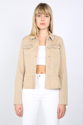Бежевая женская куртка с камнями со сборками - Thumbnail