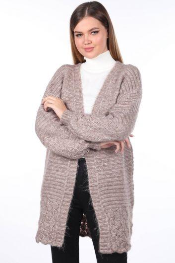 Women Beige Knitted Pattern Detailed Knitwear Cardigan - Thumbnail