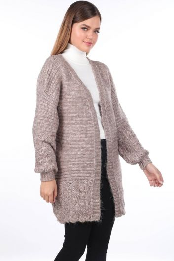 MARKAPIA WOMAN - Women Beige Knitted Pattern Detailed Knitwear Cardigan (1)