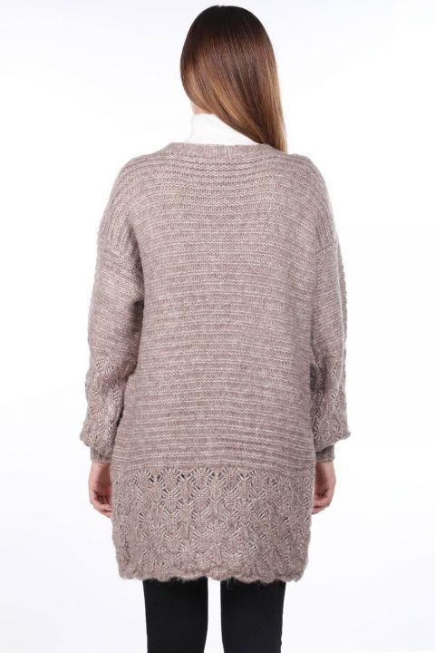 Women Beige Knitted Pattern Detailed Knitwear Cardigan