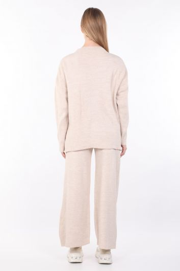 Women's Beige Knitwear Bottom Top Set - Thumbnail