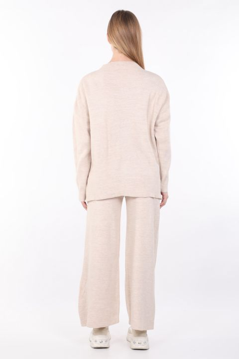 Women's Beige Knitwear Bottom Top Set