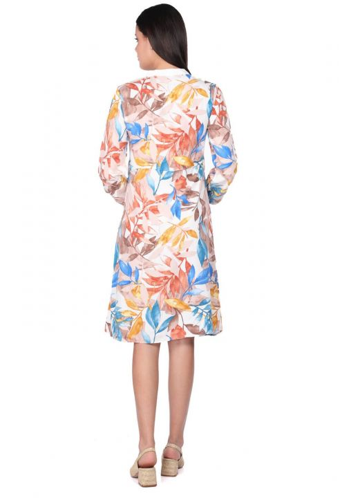 Women's Beige Leaf Pattern Buttoned Shirt Dress