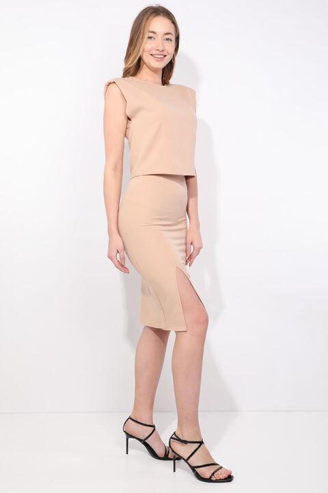 Women's Beige Padded Skirt Blouse Set