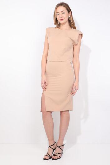 Women's Beige Padded Skirt Blouse Set - Thumbnail