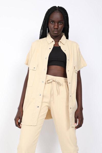 MARKAPIA WOMAN - Women's Beige Pocket Basic Jacket (1)