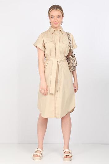 Женское бежевое платье из поплина - Thumbnail