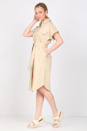 MARKAPIA WOMAN - Женское бежевое платье из поплина (1)