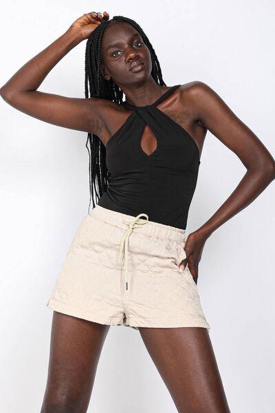 MARKAPIA WOMAN - Бежевые стеганые шорты женские (1)