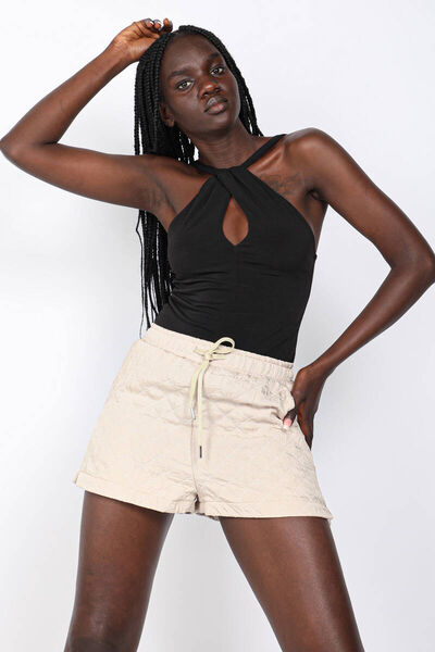 MARKAPIA WOMAN - Women's Beige Quilted Shorts (1)