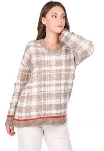 MARKAPIA WOMAN - Женский бежевый свитер с V-образным вырезом в клетку (1)