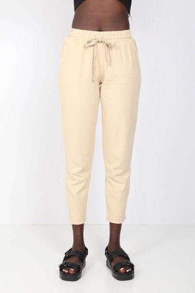 MARKAPIA WOMAN - Женские бежевые брюки с завязками на талии (1)