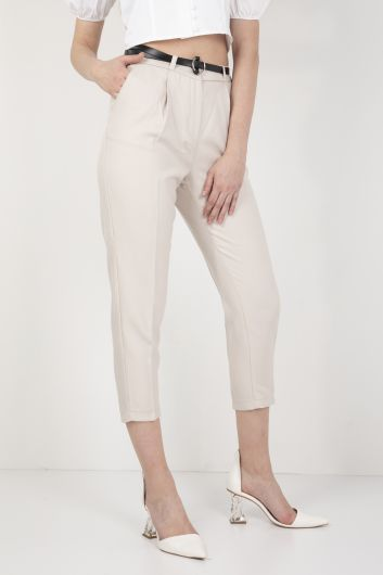 Women's Belted Fabric Trousers Stone - Thumbnail