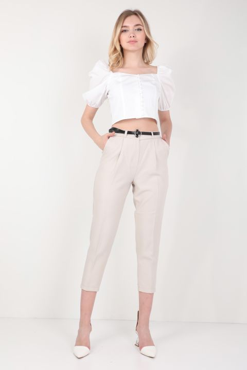 Women's Belted Fabric Trousers Stone