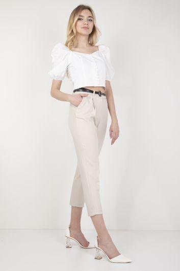 Женские брюки из ткани с поясом Stone - Thumbnail