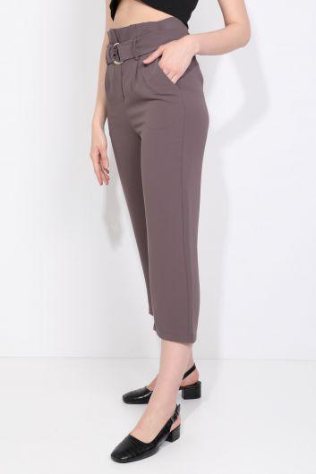 MARKAPIA WOMAN - بنطلون نسائي بحزام واسع من قماش المنك (1)