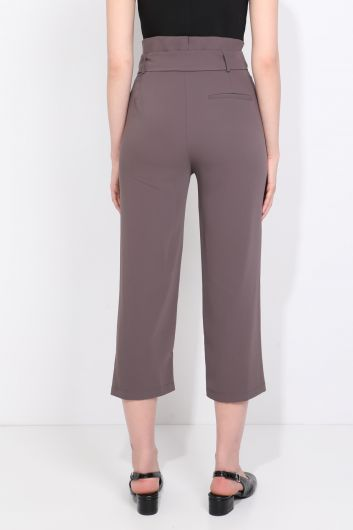 Women's Belted Wide Leg Fabric Trousers Mink - Thumbnail