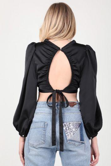 Женская черная атласная укороченная блуза с открытой спиной - Thumbnail