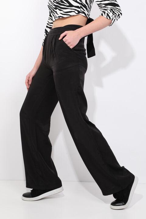 Women's Black Wide Leg Tensel Trousers