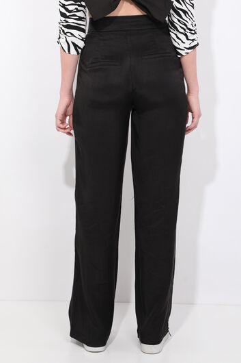 Women's Black Wide Leg Tensel Trousers - Thumbnail